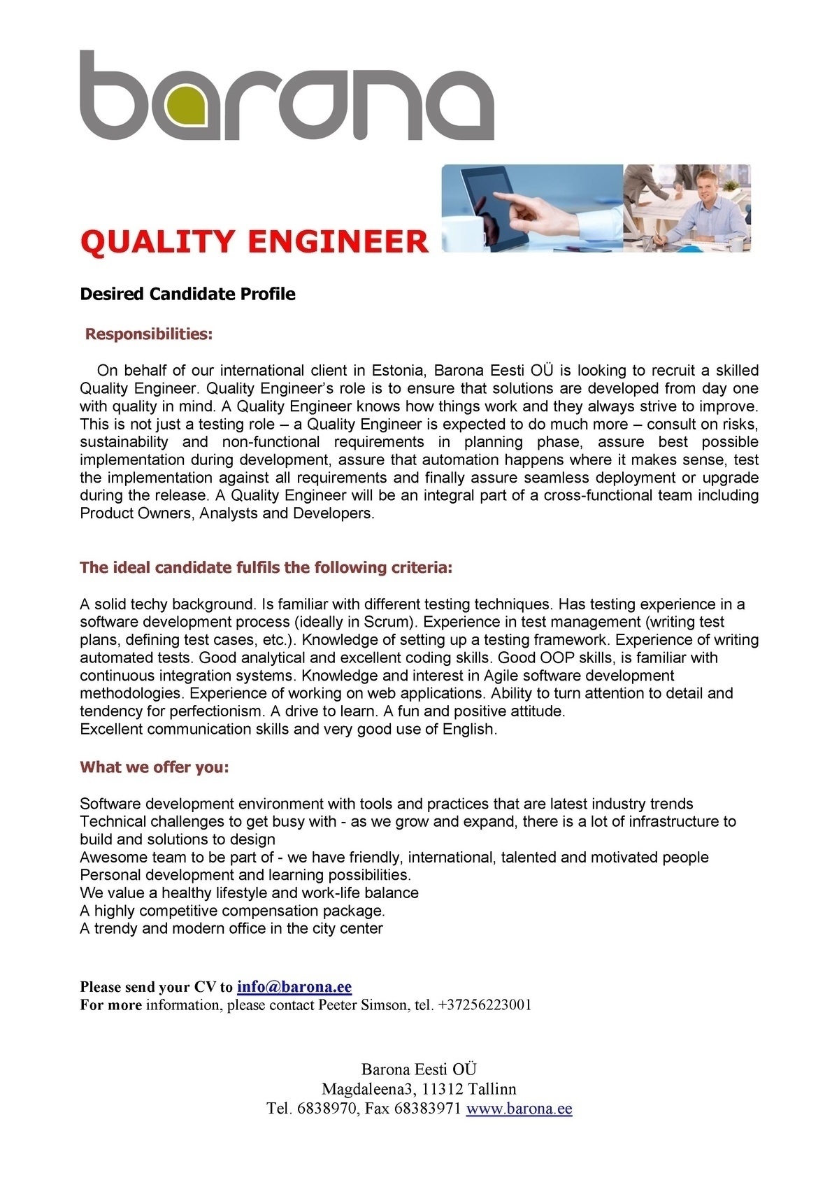 Firma nimi peidetud IT QUALITY ENGINEER