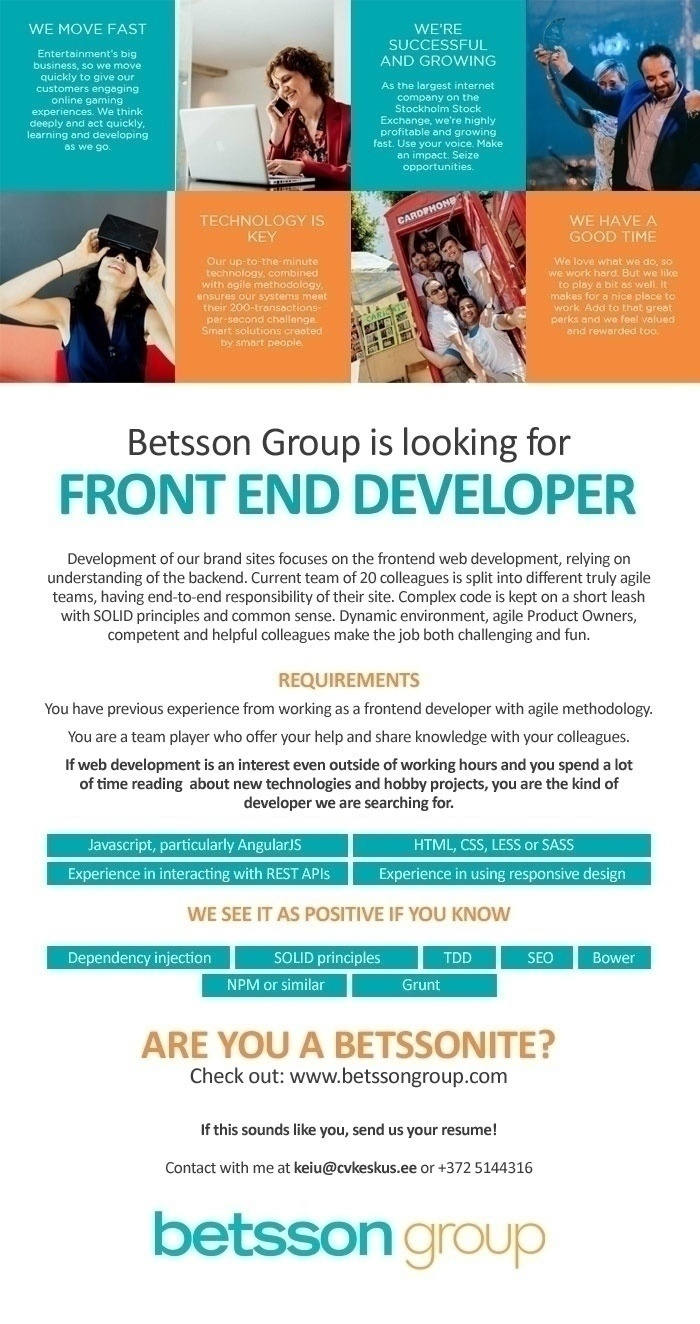 Firma nimi peidetud Betsson Group is looking for FRONT END DEVELOPER