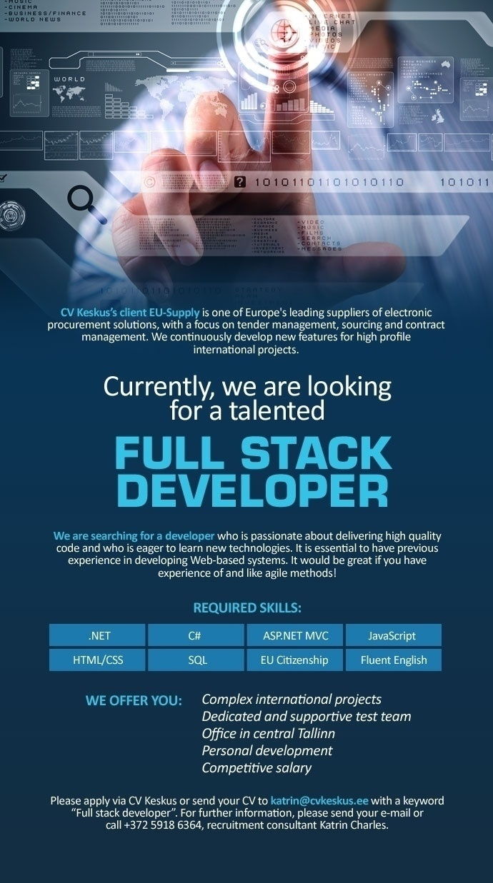 Firma nimi peidetud EU-Supply is looking for a Full Stack Developer