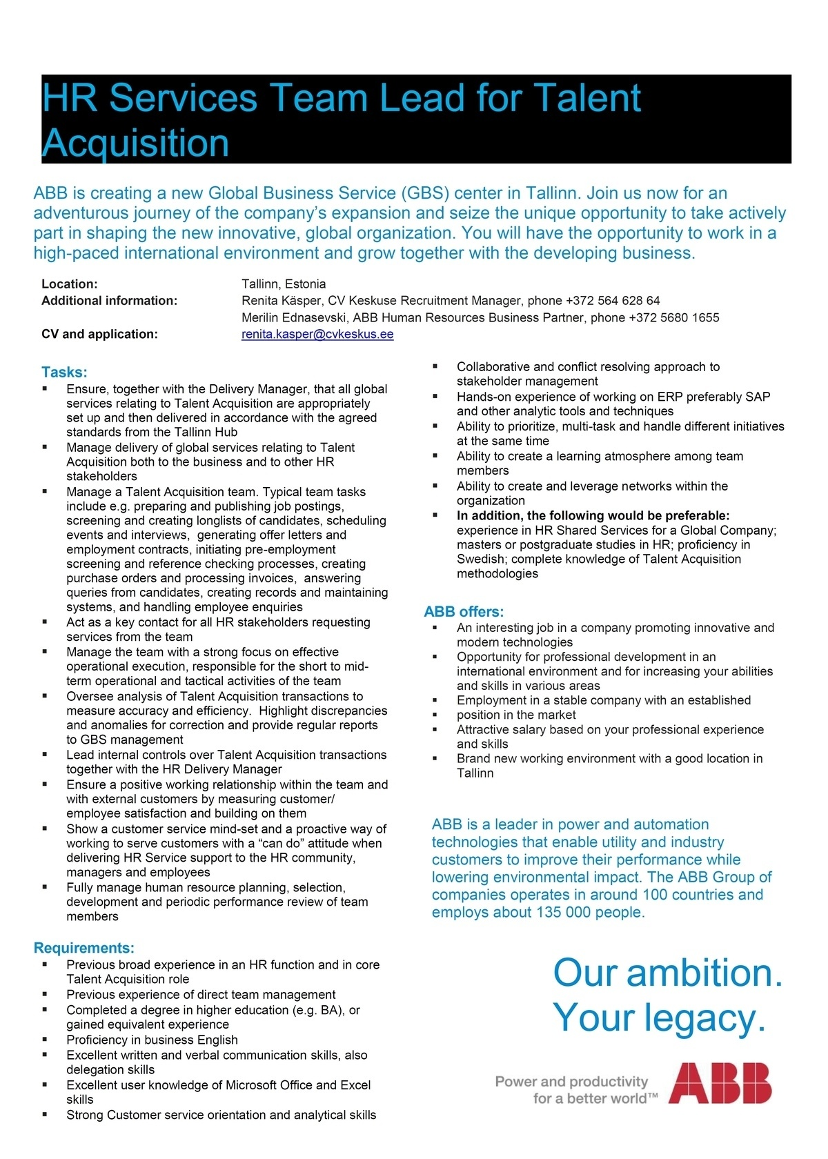 CVKeskus.ee klient ABB is looking for an HR Team Lead for Talent Acquistion