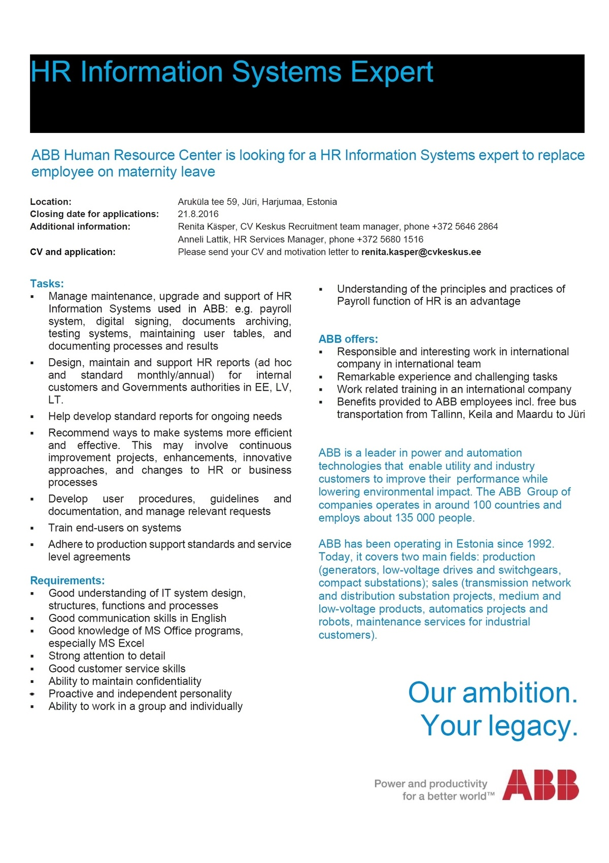 CVKeskus.ee klient ABB is looking for a HR Information Systems Expert