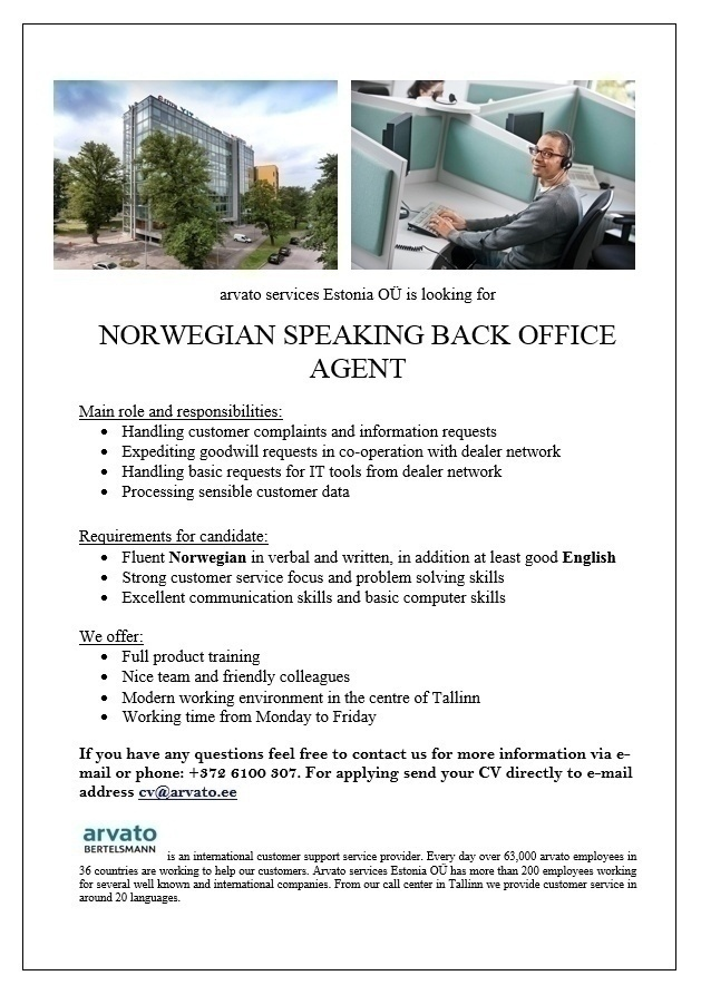 CVKeskus.ee client Norwegian Speaking Back Office Agent