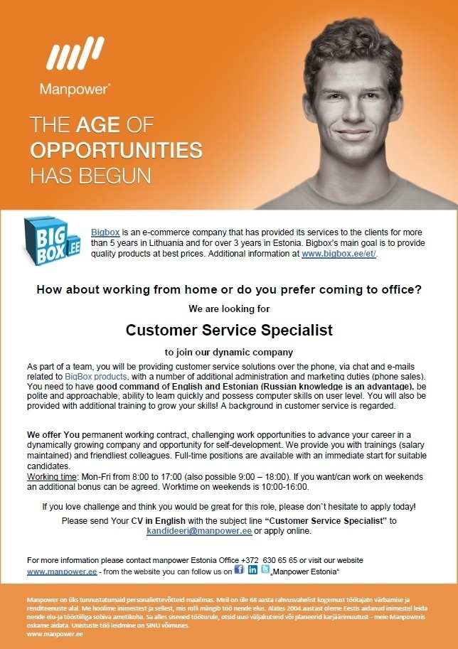 CVKeskus.ee client Customer Service Specialist (English and Estonian speaking)