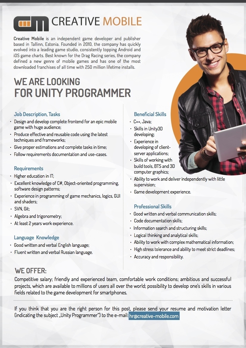 CV Keskus tööpakkumine Unity Programmer