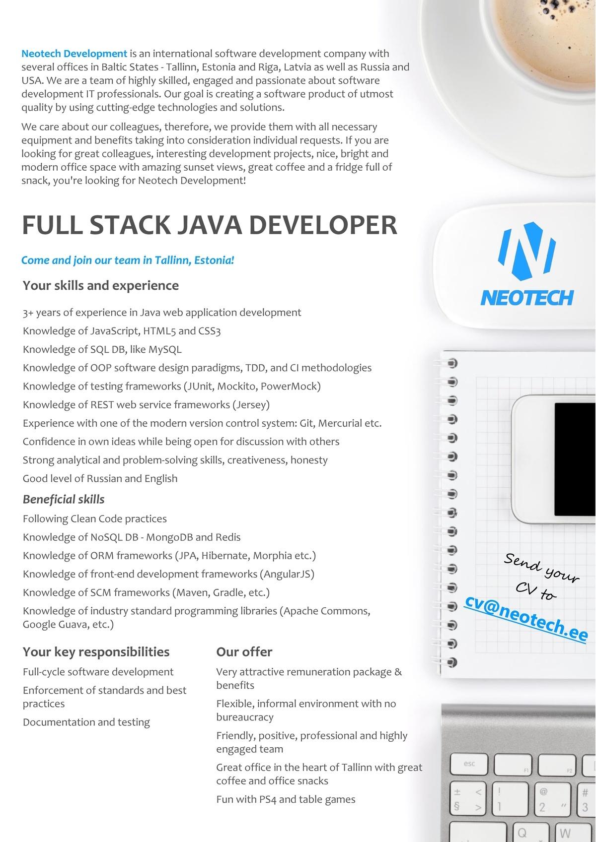 cv keskus t ouml ouml pakkumine full stack java developer toumloumlpakkumise number