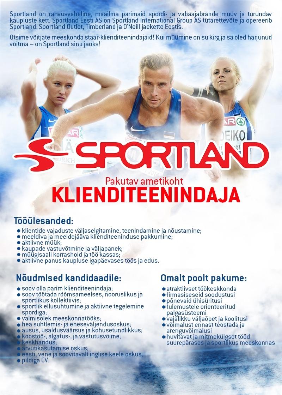 92e148caf3a CV Keskus tööpakkumine Sportland Järve klienditeenindaja