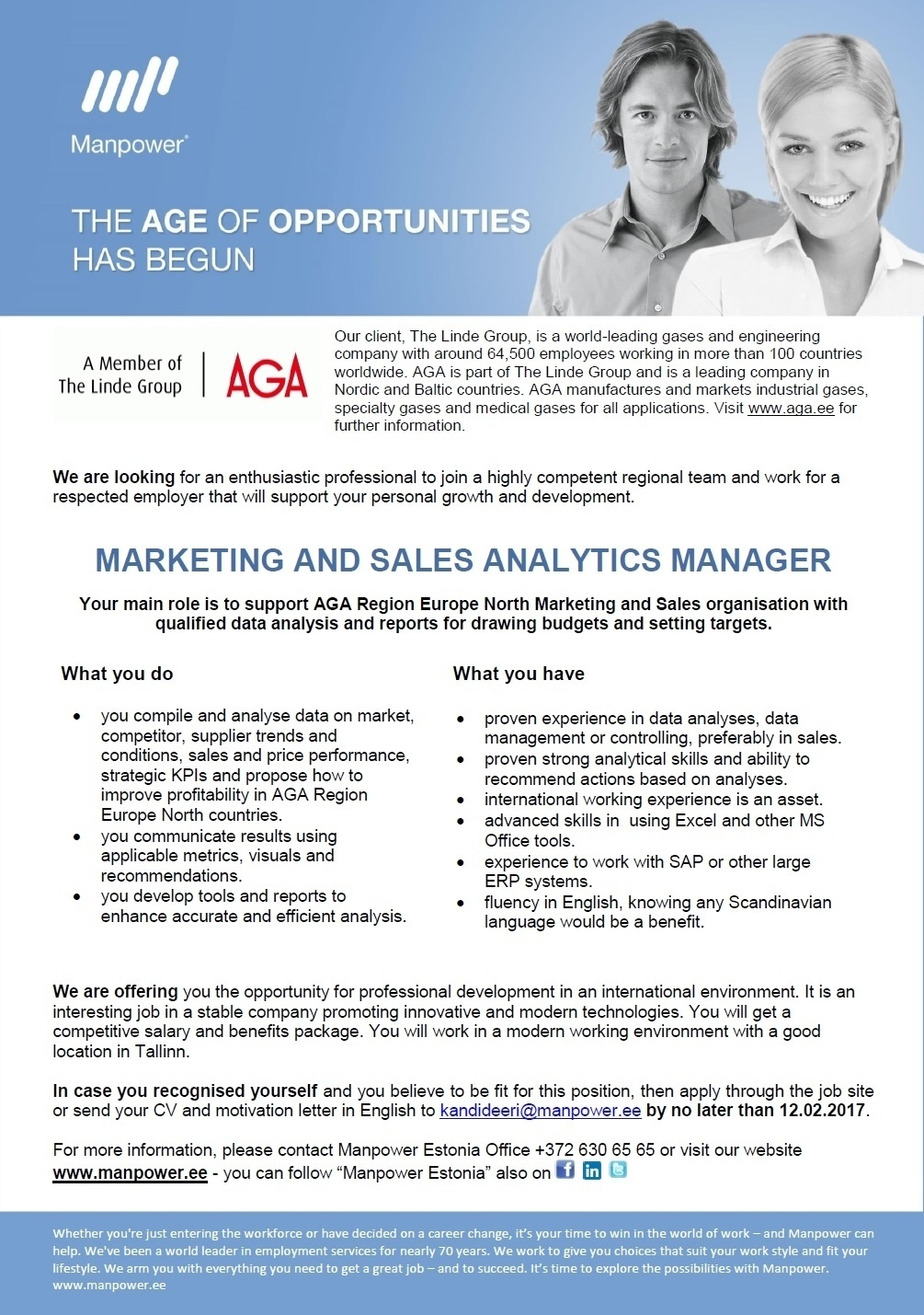 CV Market´s client Marketing and Sales Analytics Manager