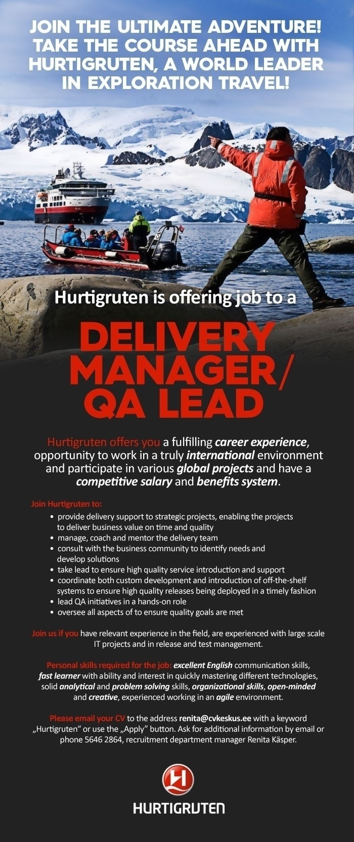 CV Market´s client Hurtigruten is looking for a Delivery Manager/ QA Lead