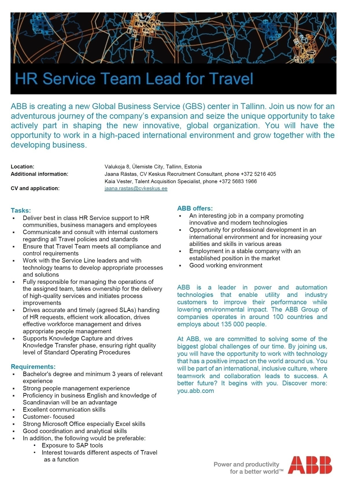 CVKeskus.ee klient ABB is looking for HR Service Team Lead for Travel