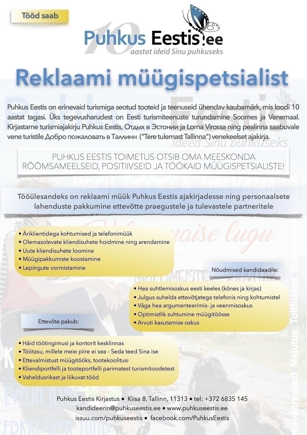 cdc9fe1a2ba CV Keskus tööpakkumine Reklaami müügispetsialist