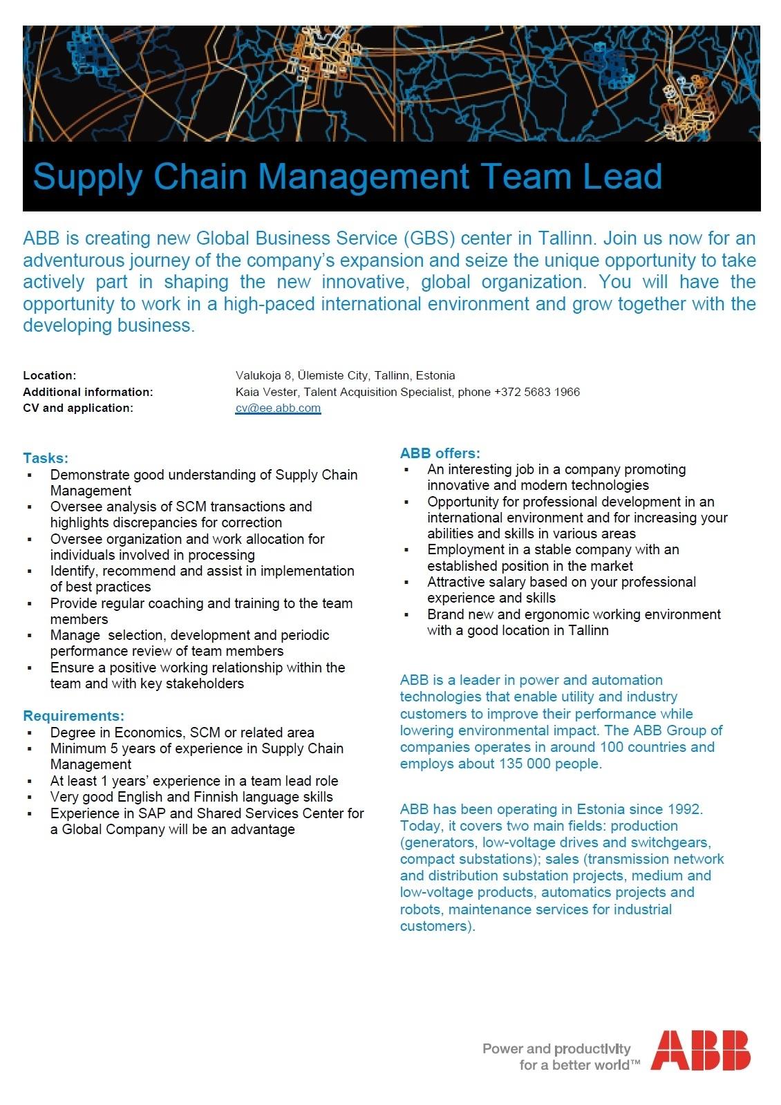 cv keskus t pakkumine supply chain management team lead. Black Bedroom Furniture Sets. Home Design Ideas