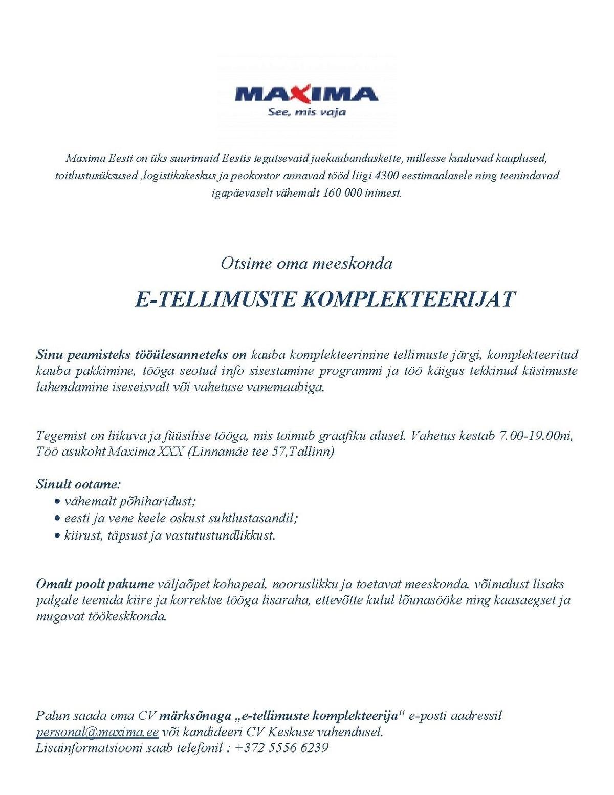 maxima logistikakeskus aadress