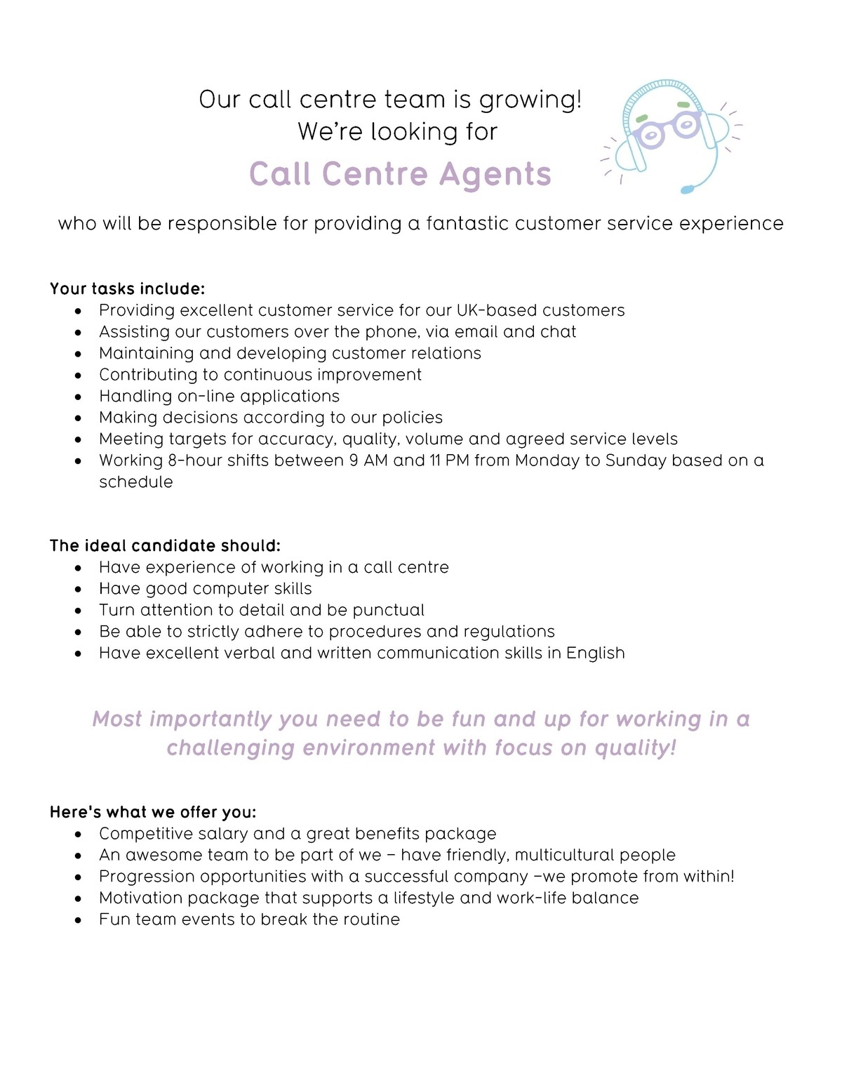 CV Keskus tpakkumine Call centre agent customer service in english