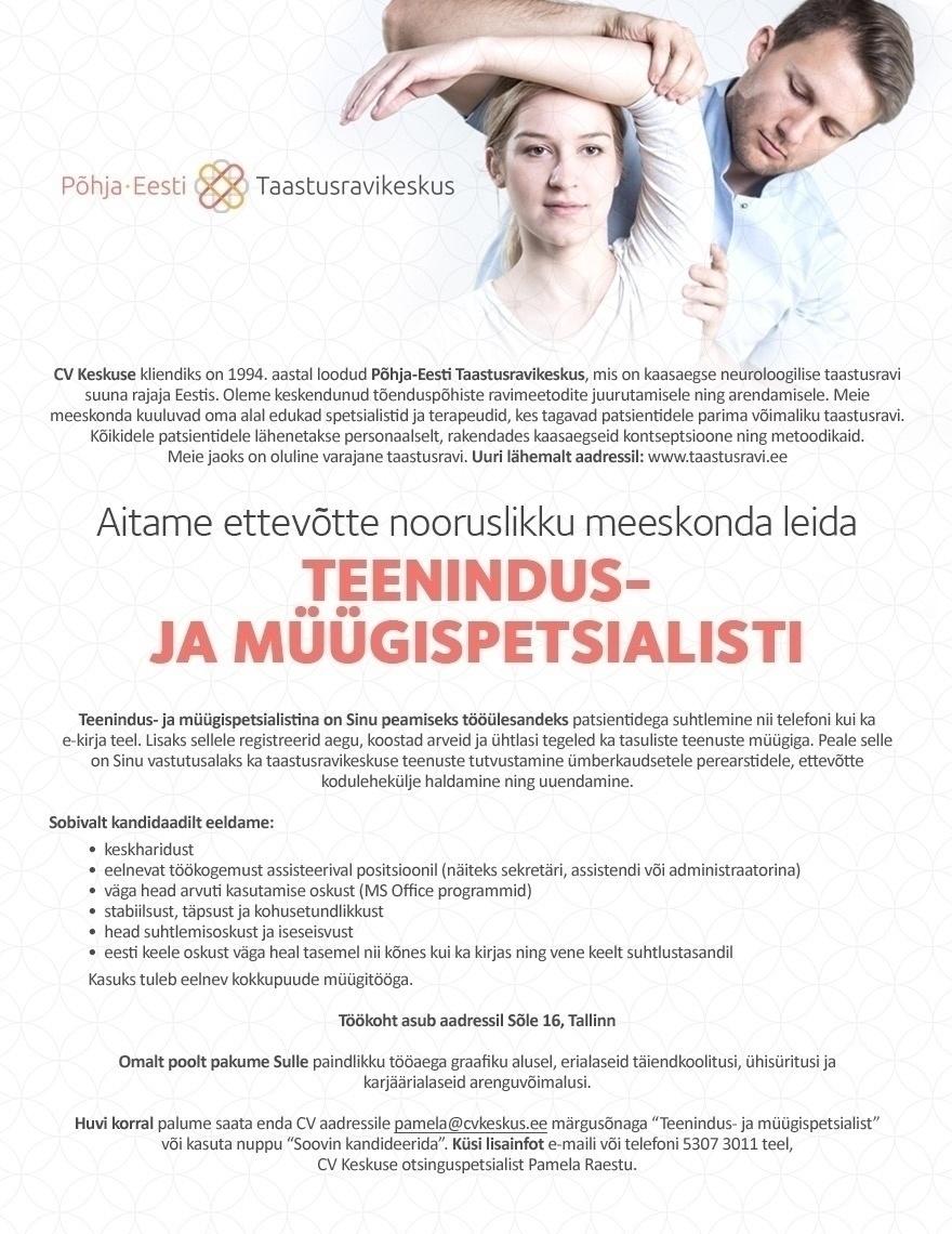 c79e6172ec9 Firma nimi peidetud Teenindus- ja müügispetsialist (Põhja-Eesti  Taastusravikeskus)