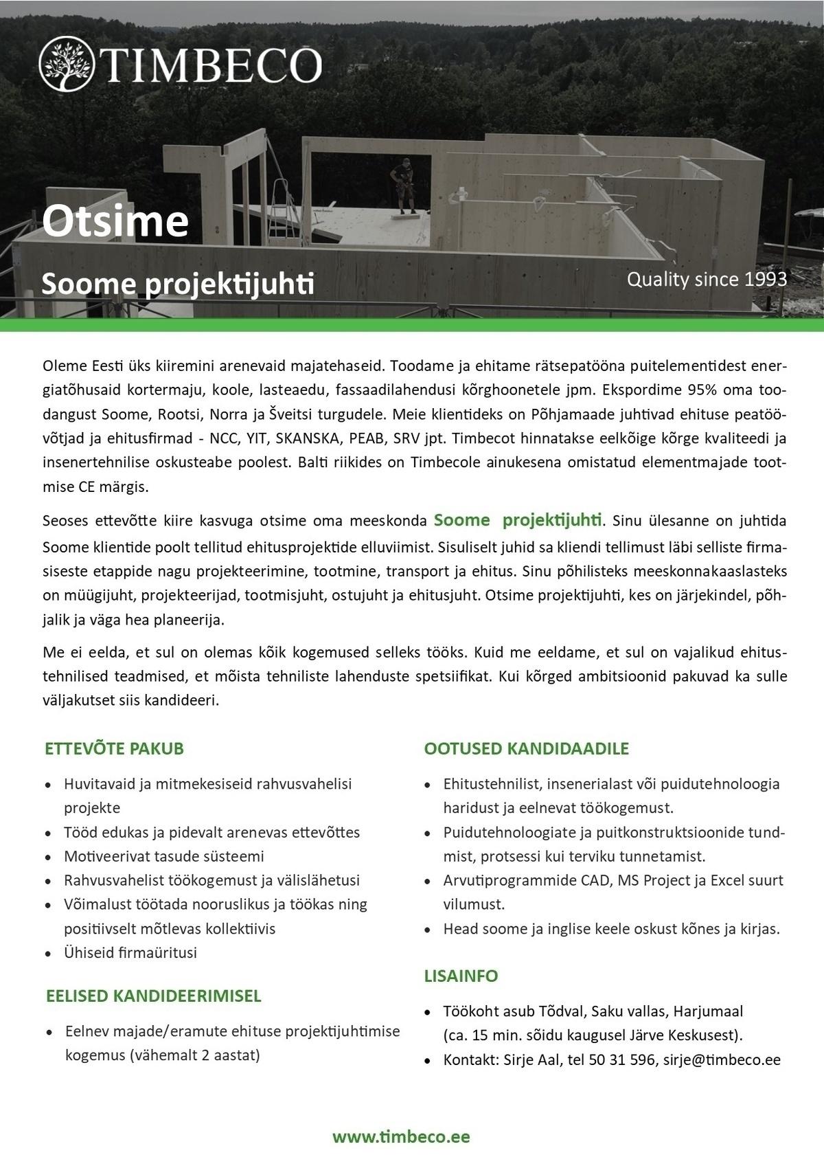 eaee019985f CV Keskus tööpakkumine Soome projektijuht