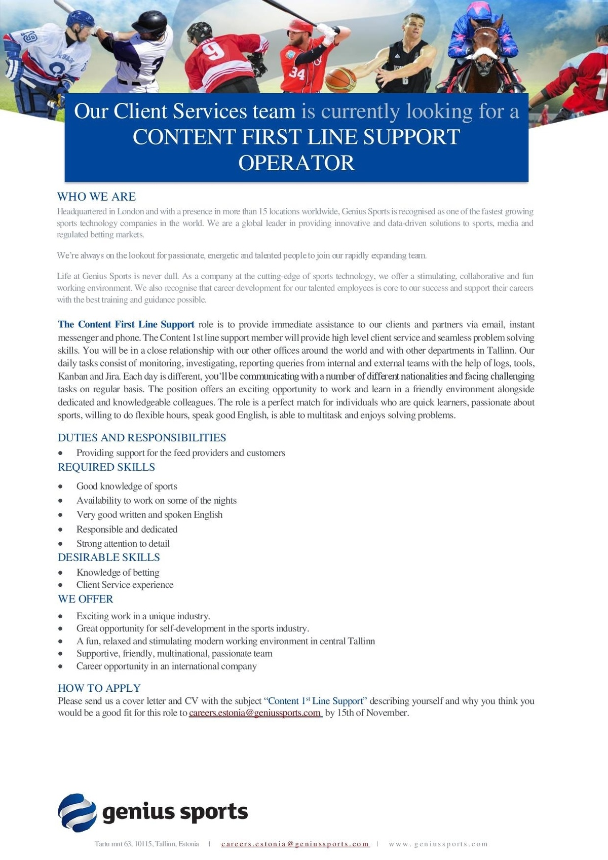 CVKeskus.ee client Content First Line Support Operator