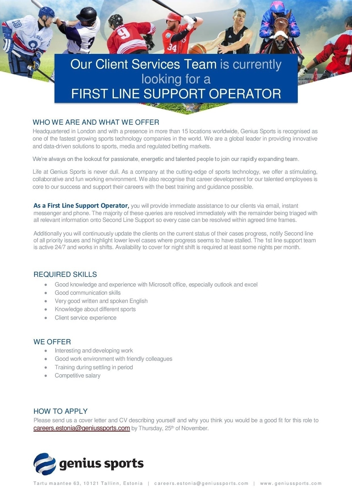 CV Market´s client First Line Support Operator