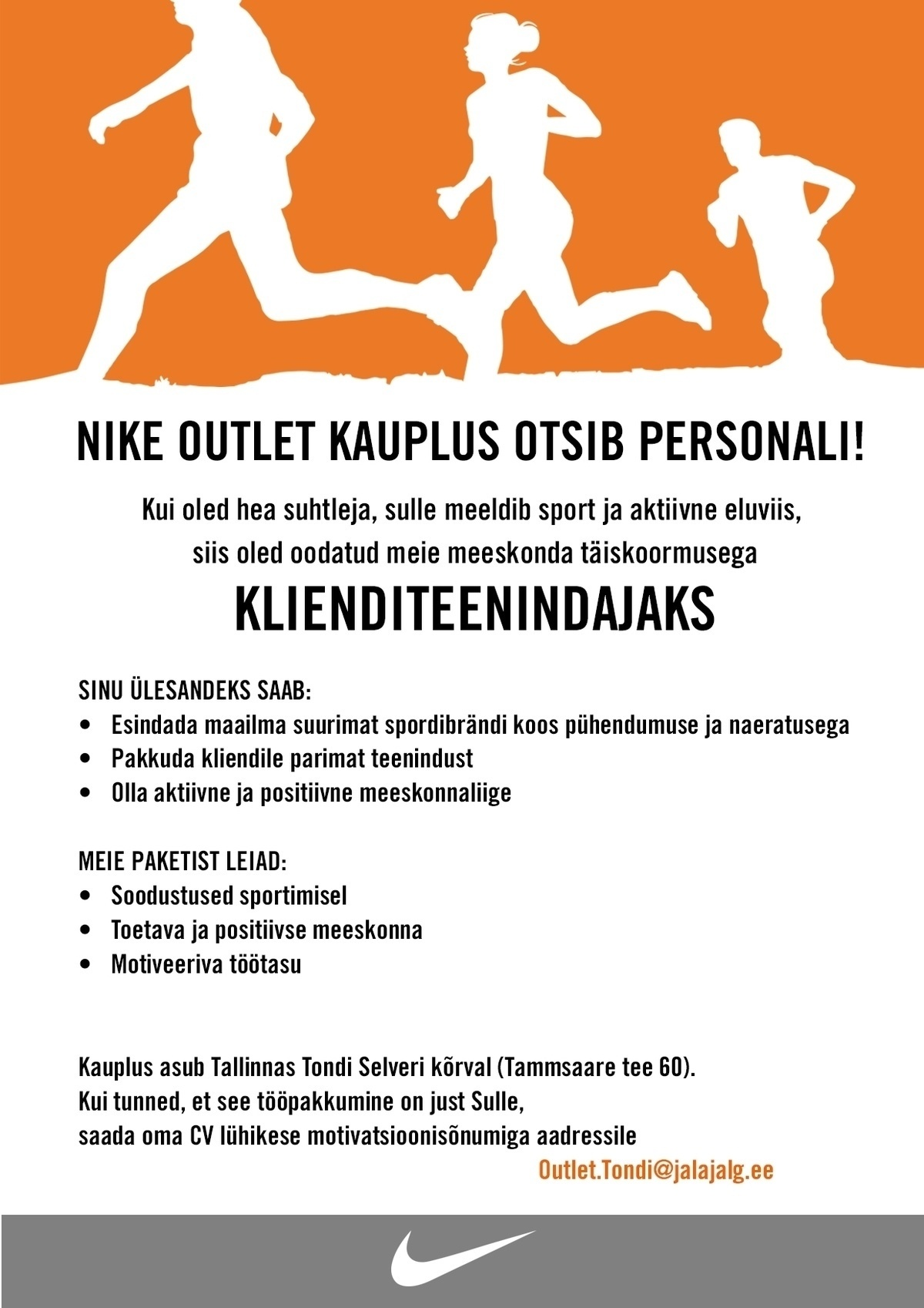 62ad7f5a687 CV Keskus tööpakkumine Klienditeenindaja Nike Outlet