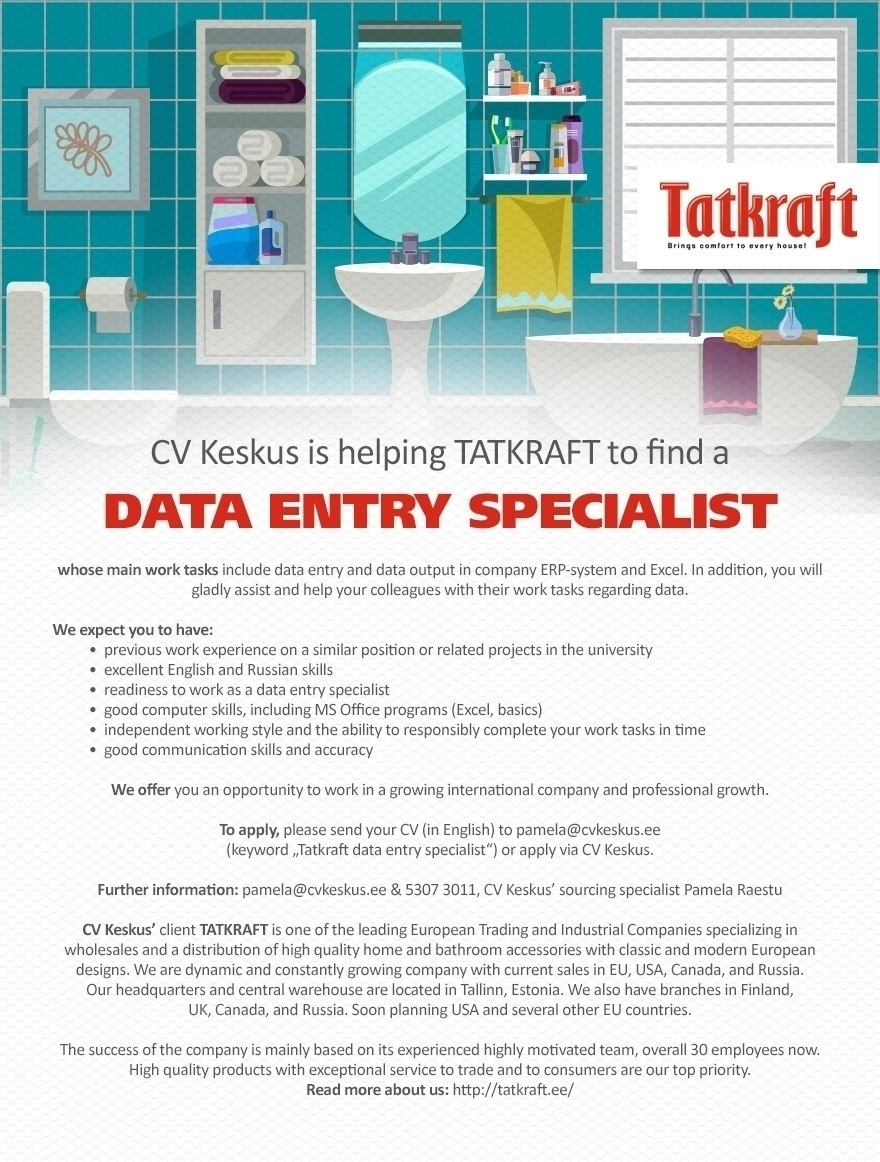 Cv Keskus Tööpakkumine Data Entry Specialist (tatkraft. Resume In Word Format Download For Free. Resume Parser Php. Resume Format For Mba Freshers Pdf. Applicant Resume Example. Sample Resume For Professor. Resume Bar. Language Proficiency Resume. Resume Update In Naukari Com