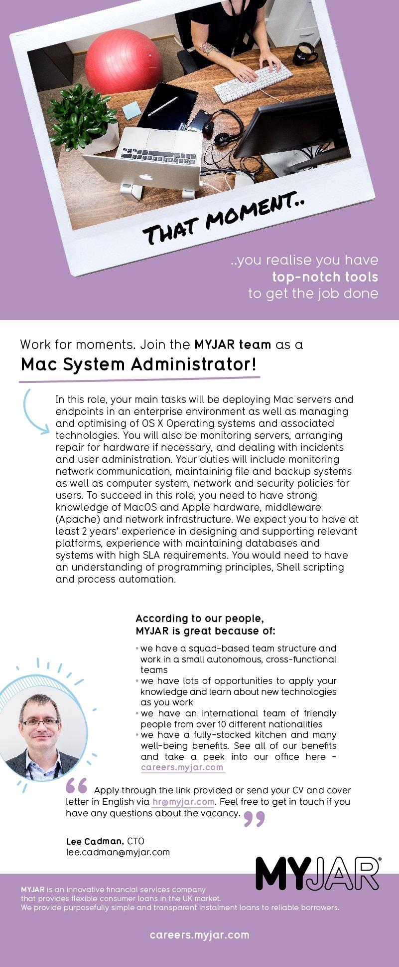 CV Keskus tööpakkumine Mac System Administrator