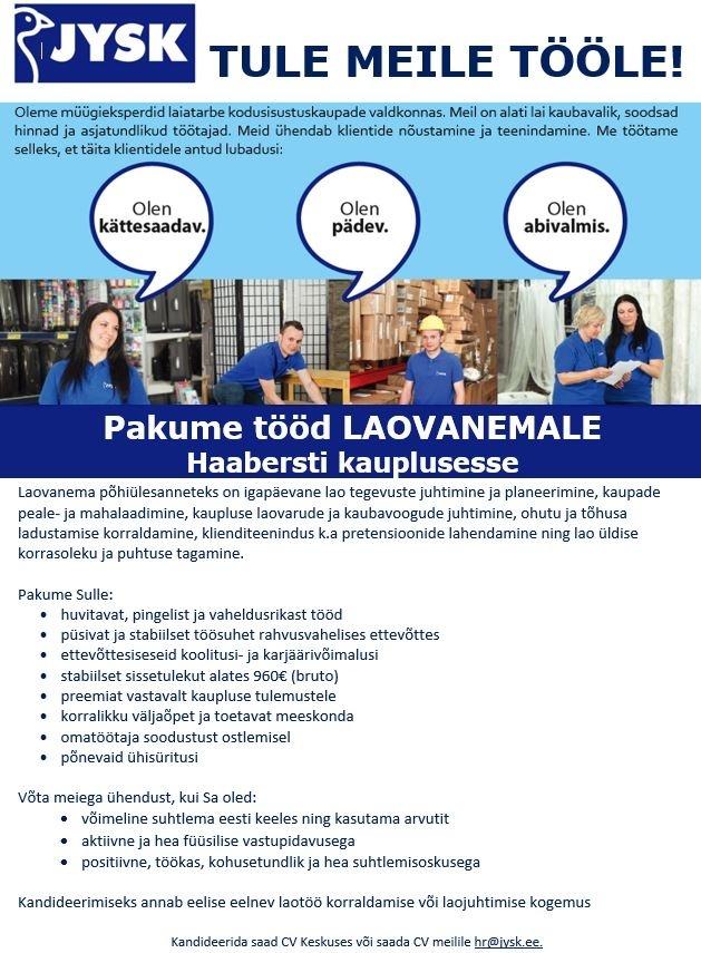6bf0de2fa5b CV Keskus tööpakkumine Laovanem Haabersti JYSKi