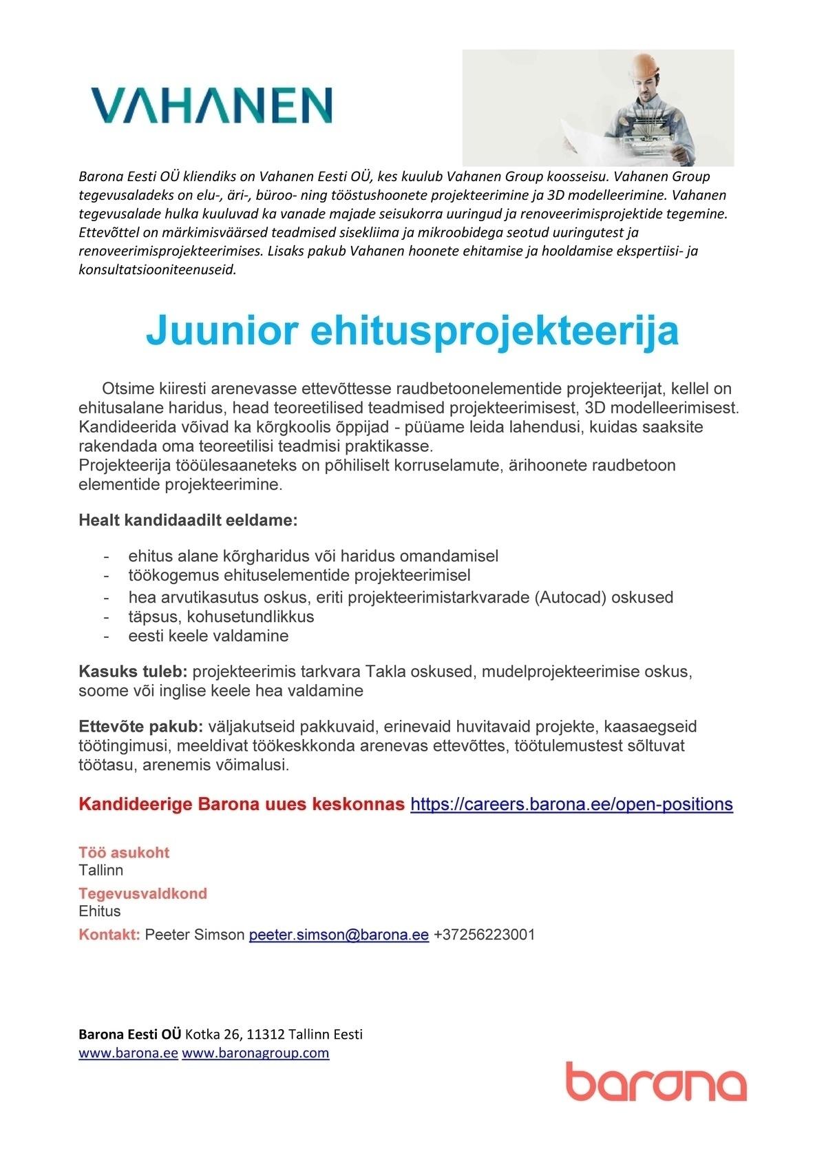 d1a30629486 CV Keskus tööpakkumine Juunior ehitusprojekteerija