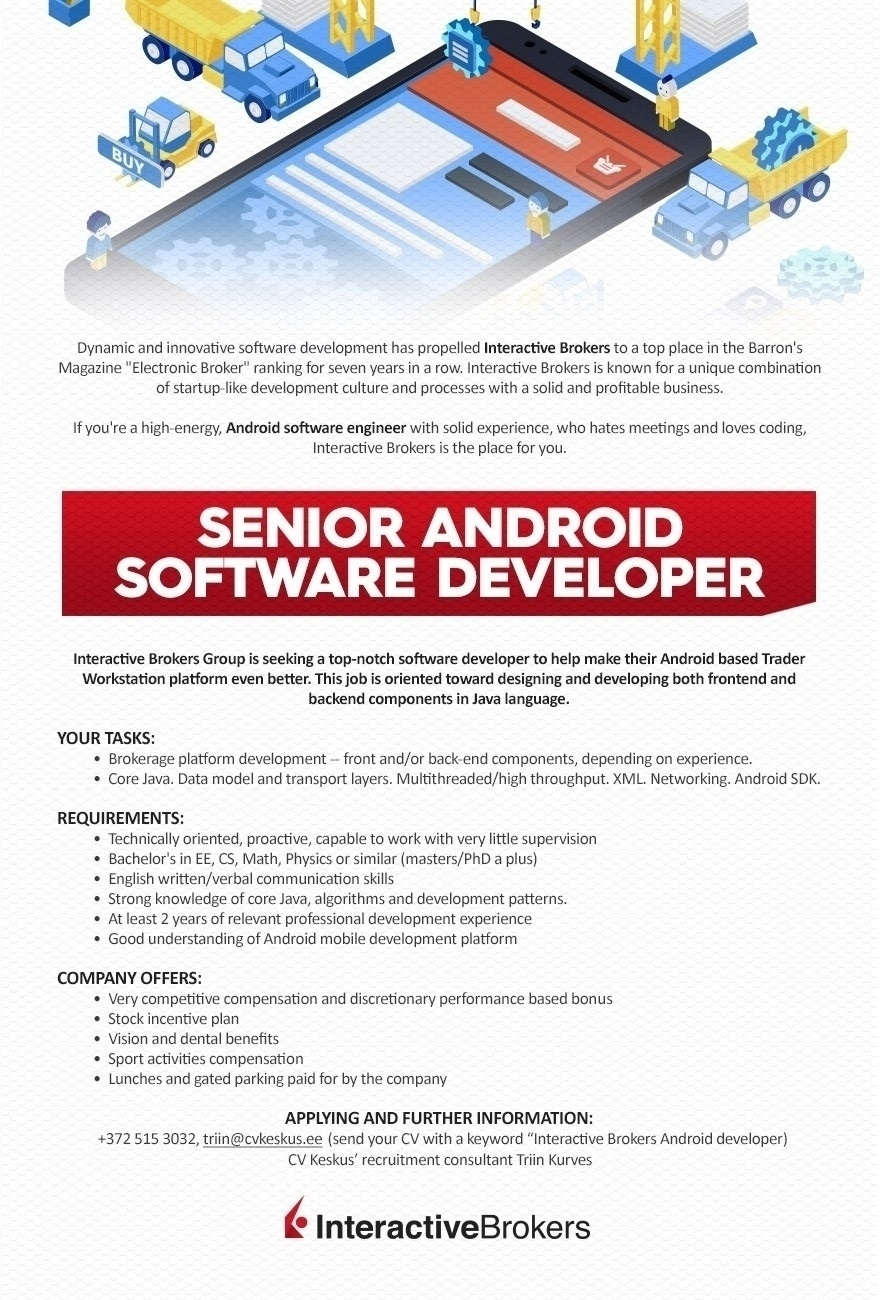 CVKeskus.ee client Senior Android software developer (Interactive Brokers)