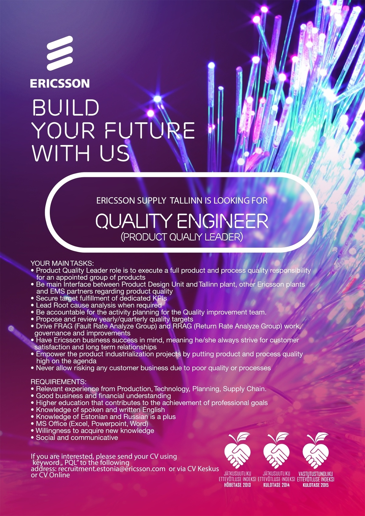 CV Keskus tööpakkumine Quality Engineer