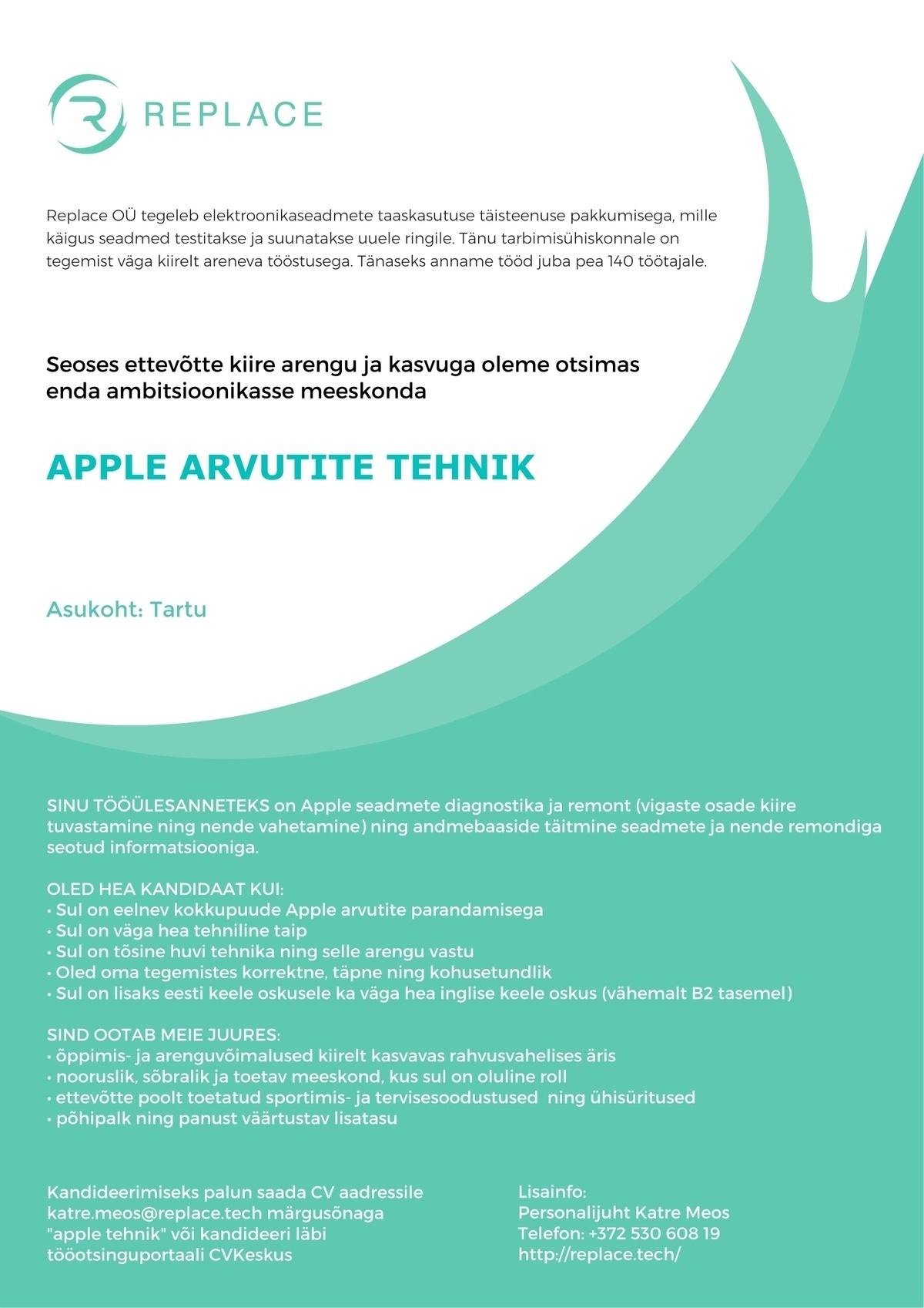 6c19d68837a CV Keskus tööpakkumine Apple arvutite tehnik