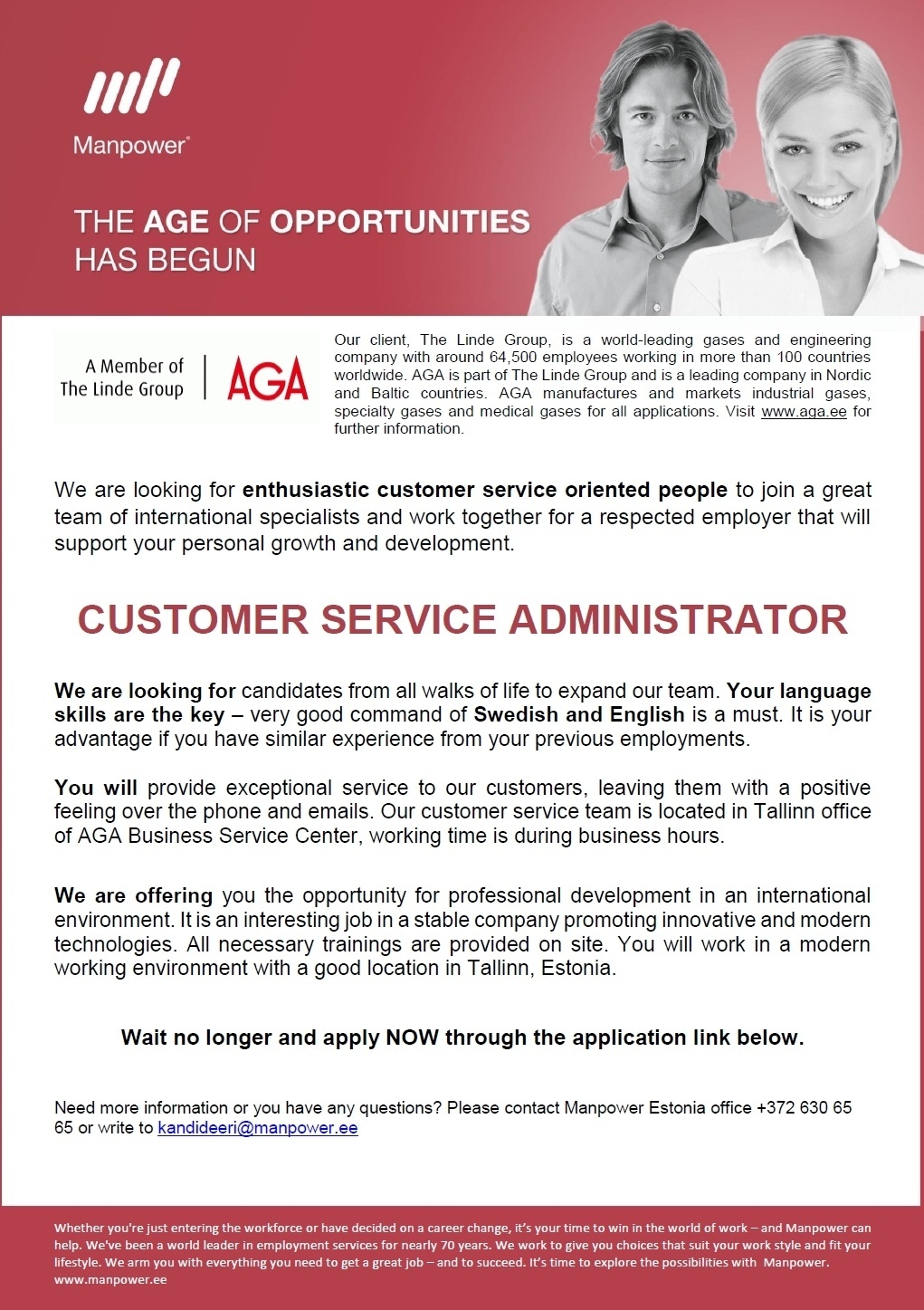 CV Market´s client CUSTOMER SERVICE ADMINISTRATOR (Swedish speaking)