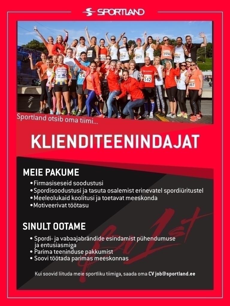3b1e351ab04 Firma nimi peidetud Sportland Järve osalise- ja täistööajaga  klienditeenindaja