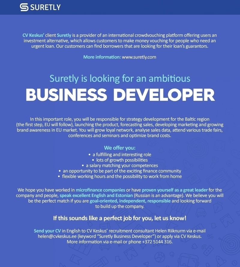 CVKeskus.ee client Suretly is looking for a business developer!