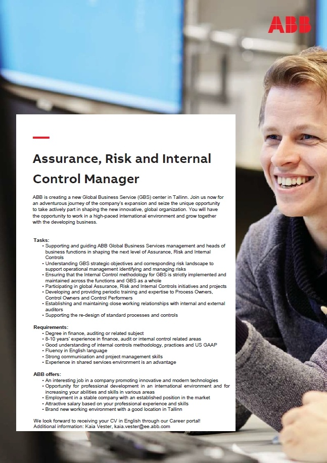 CV Market´s client Assurance, Risk and Internal Control Manager