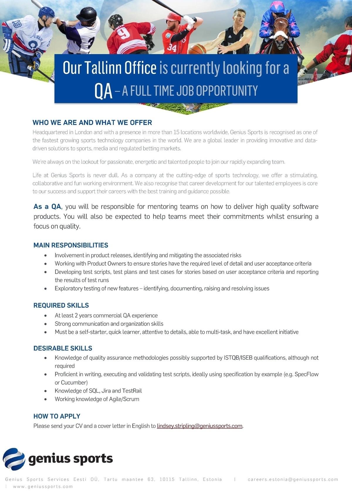 CV Keskus tööpakkumine QA Engineer