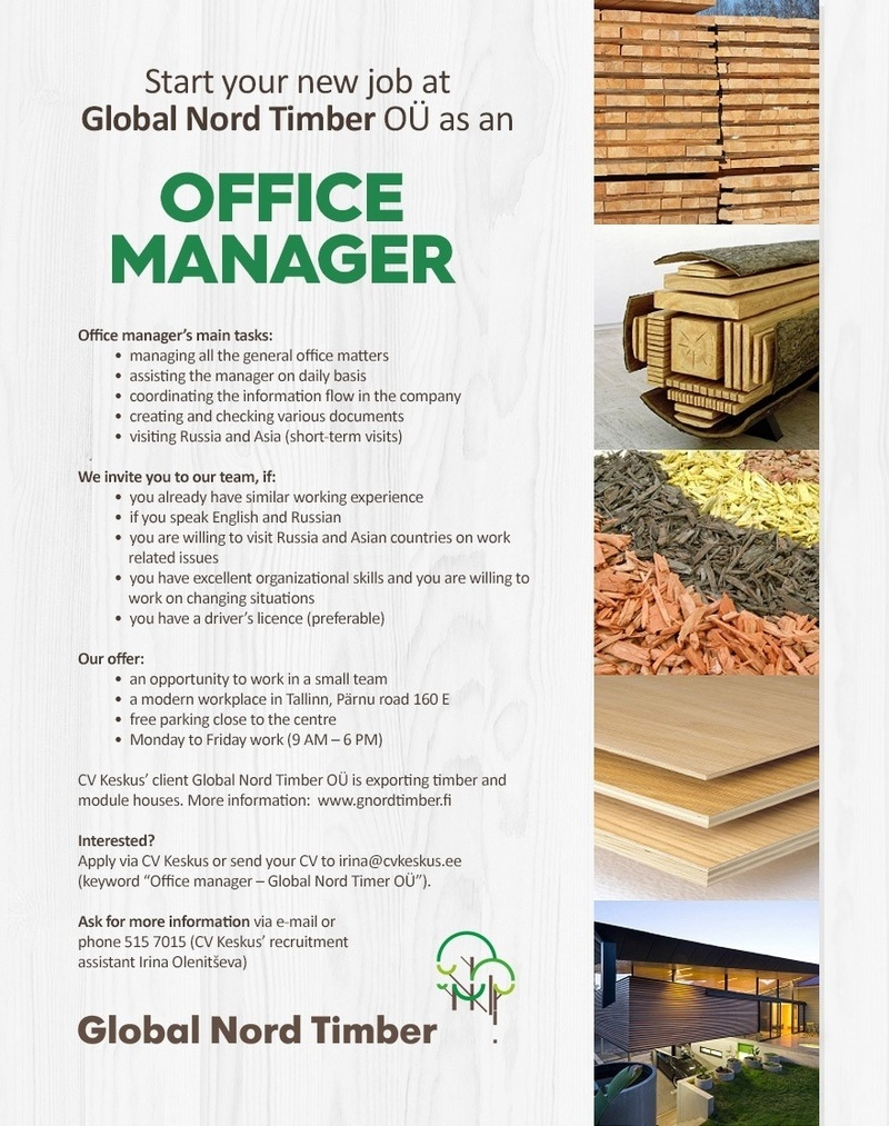 CV Market´s client Office manager (Global Nord Timber OÜ)