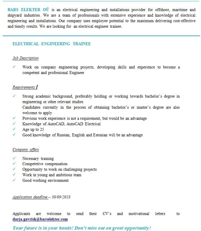 CV Keskus tööpakkumine Electrical engineering trainee