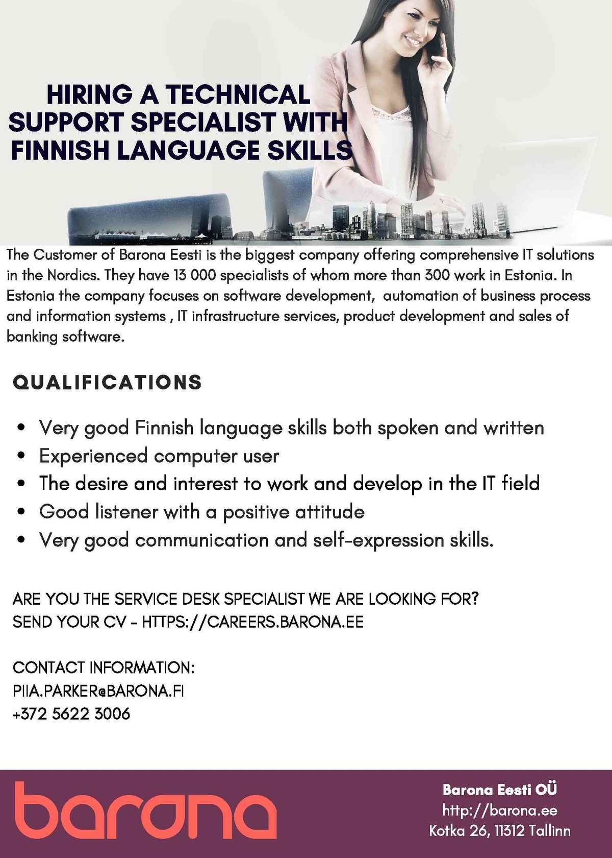 CVKeskus.ee klient HIRING A TECHNICAL SUPPORT SPECIALIST WITH FINNISH LANGUAGE SKILLS