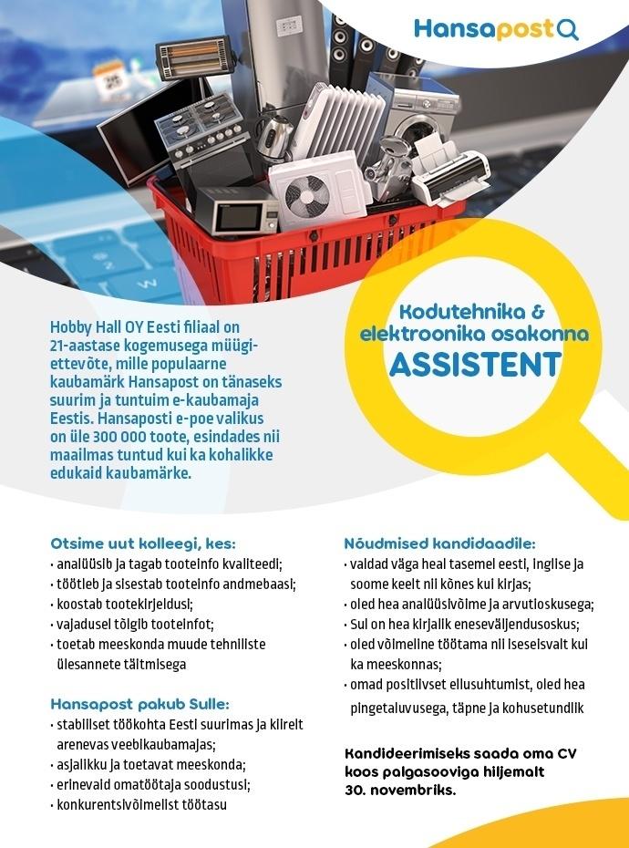 25ddaced051 CV Keskus tööpakkumine Kodutehnika & elektroonika osakonna assistent