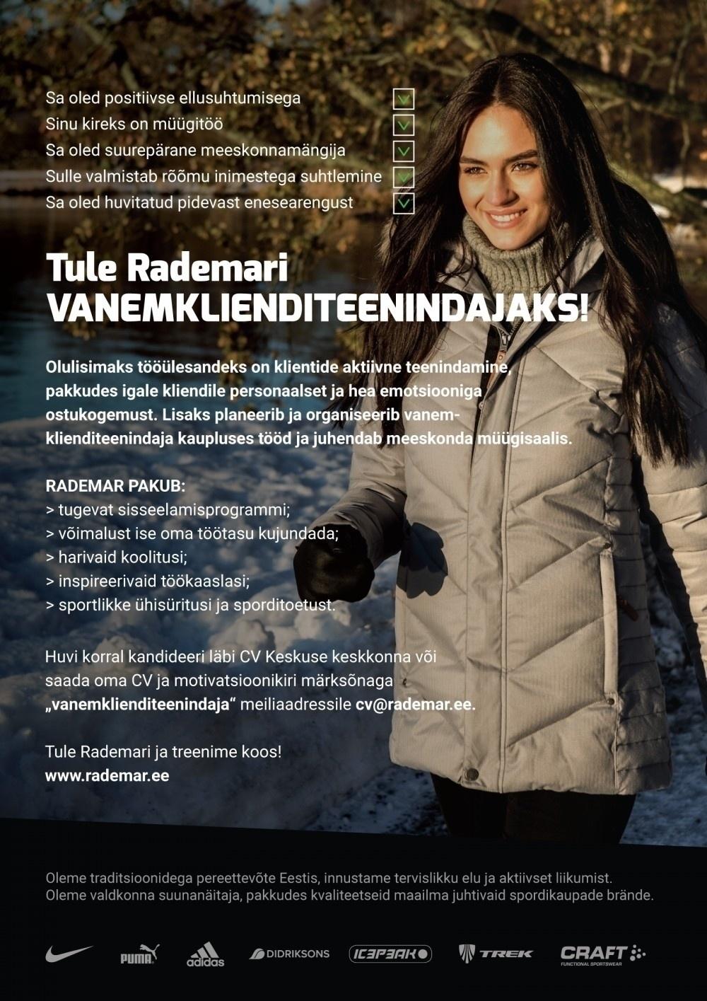 1cb2b153cec Firma nimi peidetud Vanemklienditeenindaja Järve keskuse Rademari  kauplusesse