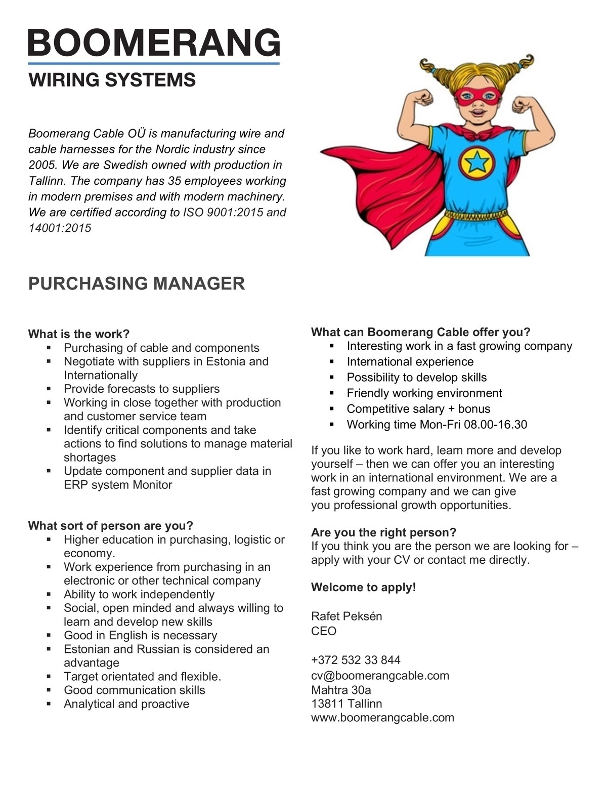 CV Keskus tööpakkumine Purchasing manager