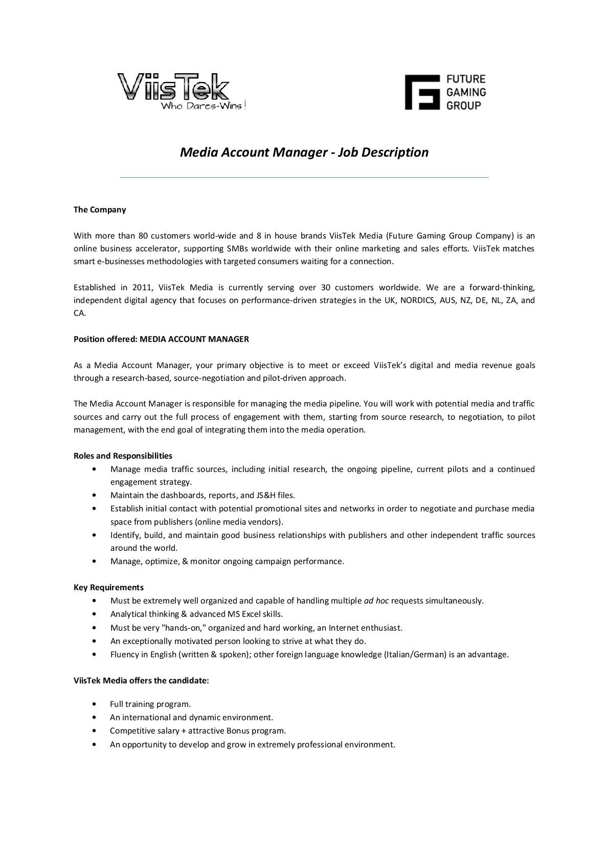 CV Keskus tööpakkumine Media Account Manager