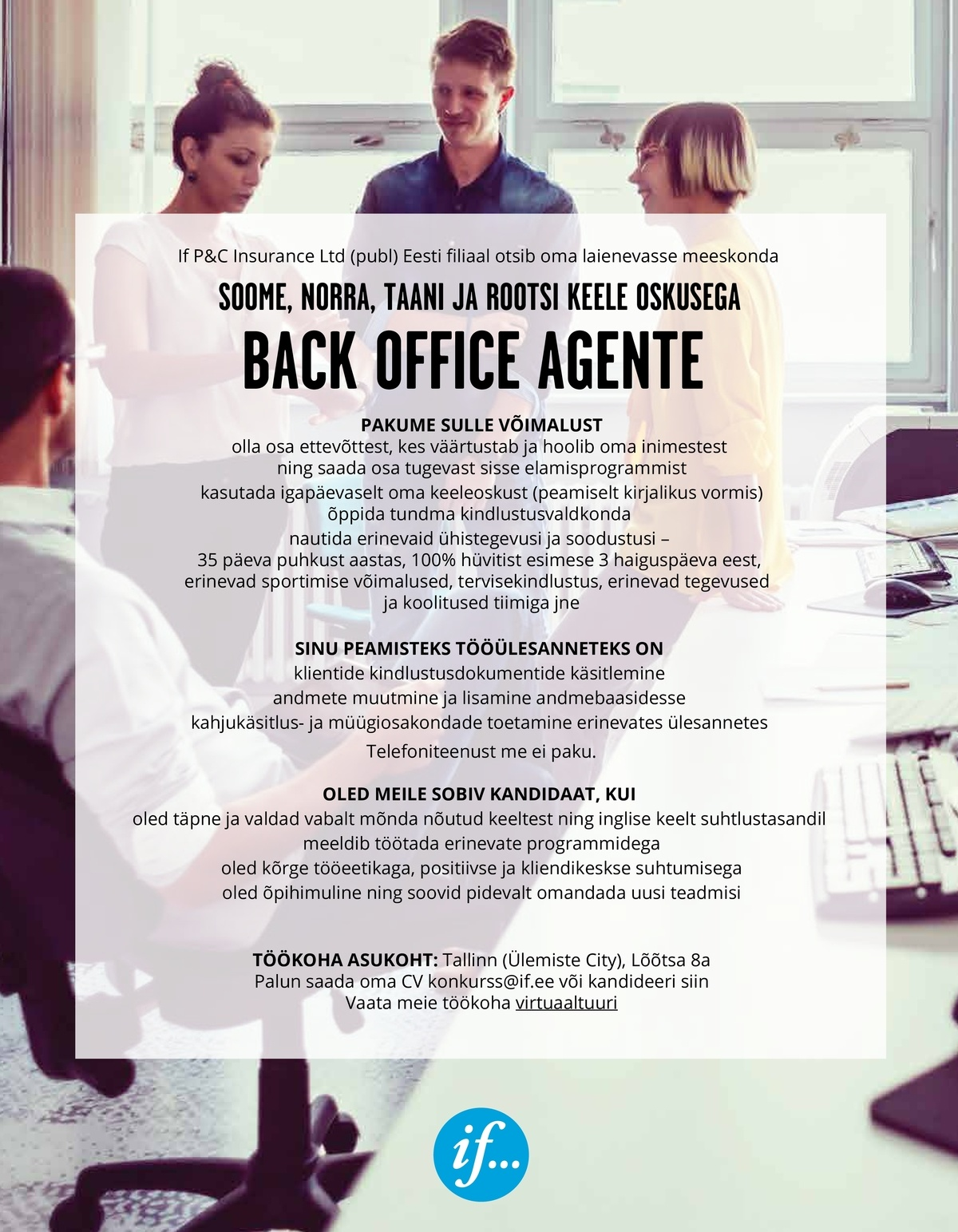 If P&C Insurance Ltd (publ) Eesti filiaal BACK OFFICE AGENT