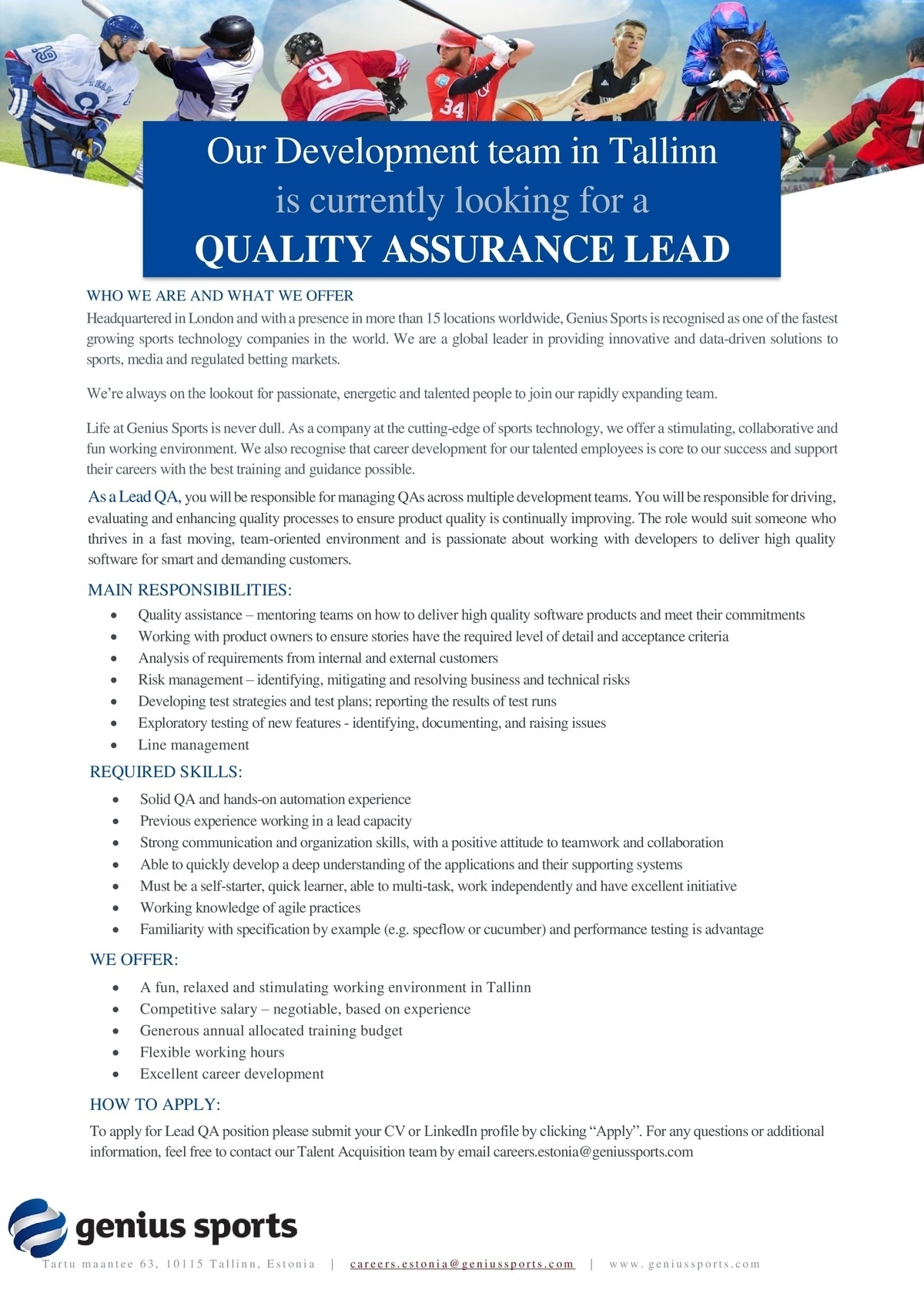 GENIUS SPORTS SERVICES EESTI OÜ Quality Assurance Lead