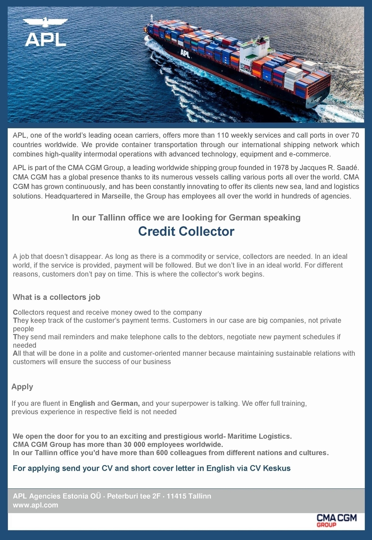 cv keskus t u00f6 u00f6pakkumine credit collector