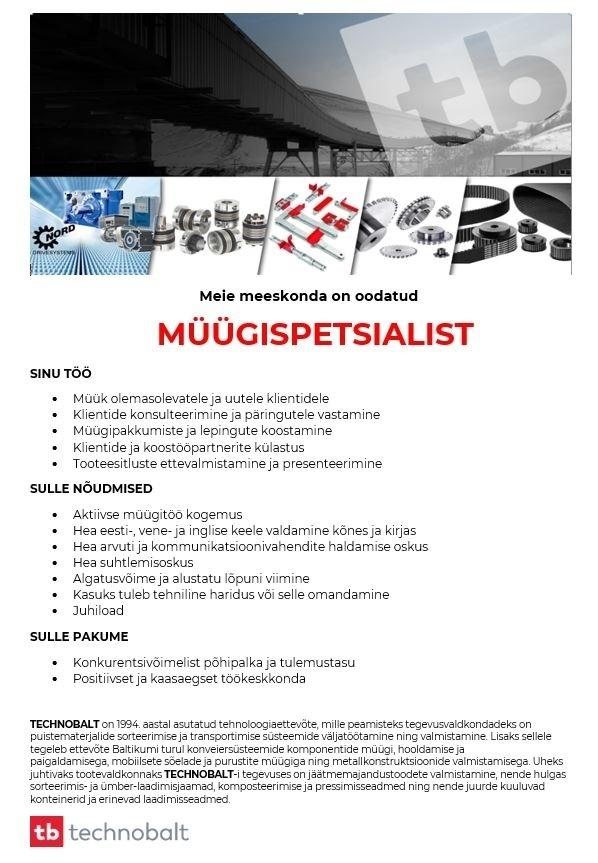 ca9ee5f7157 CV Keskus tööpakkumine Müügispetsialist