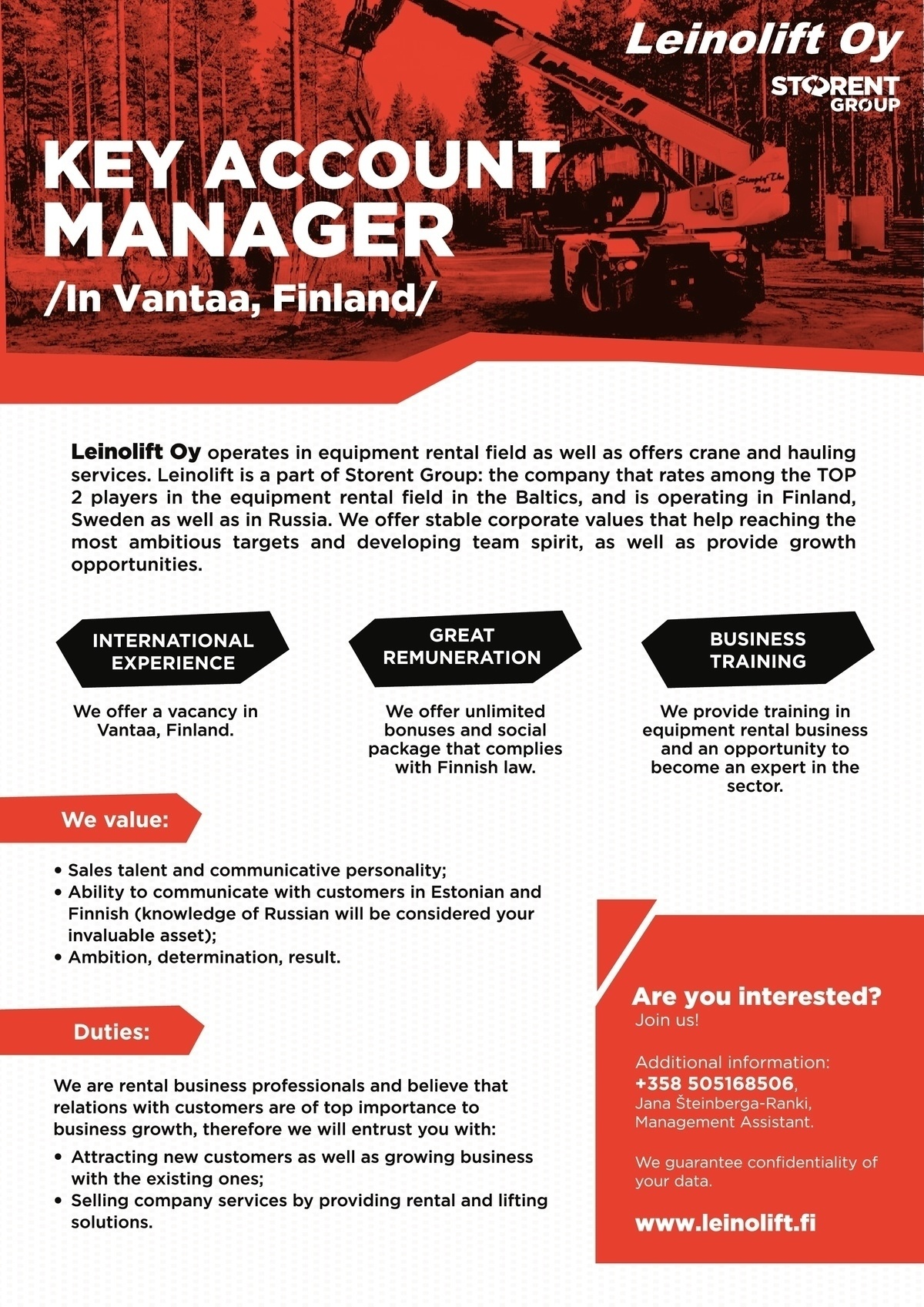 Leinolift Oy Key account manager