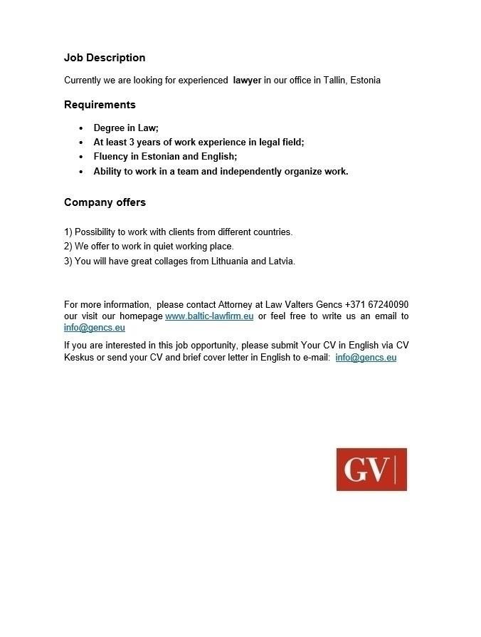 CV Keskus tööpakkumine Lawyer