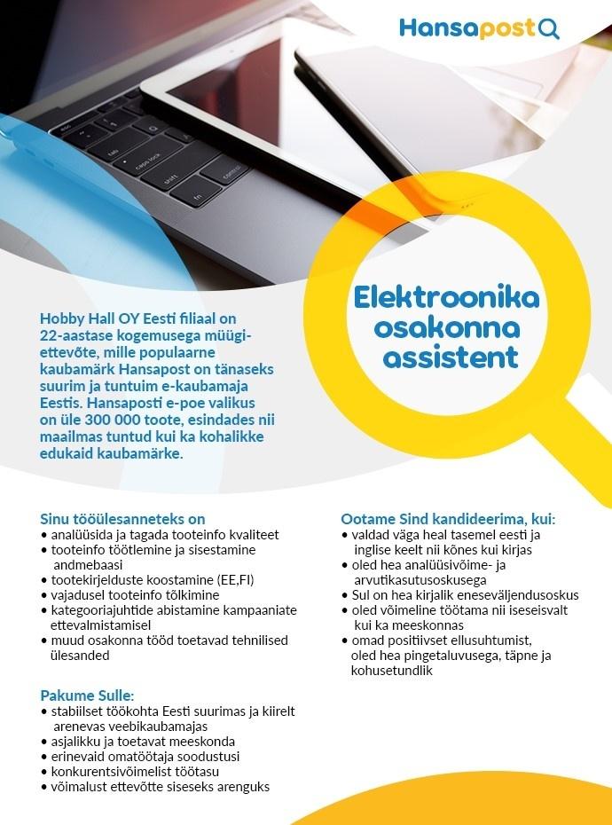 0f8d2872ea3 CV Keskus tööpakkumine Elektroonika osakonna assistent