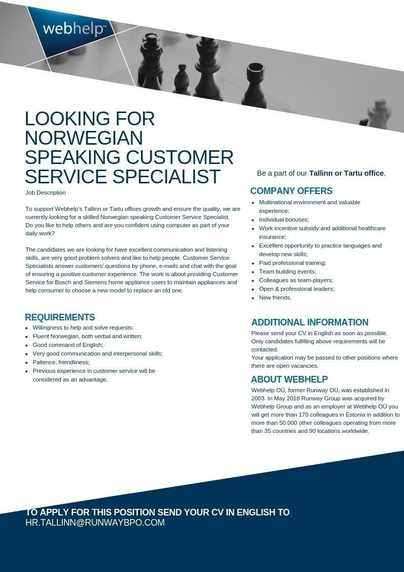 CV Keskus tööpakkumine Norwegian speaking Customer Service Specialist