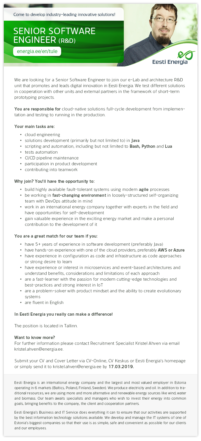CV Market´s client SENIOR CLOUD SOFTWARE ENGINEER